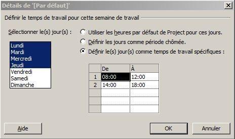 Paramétrage des horaires de travail