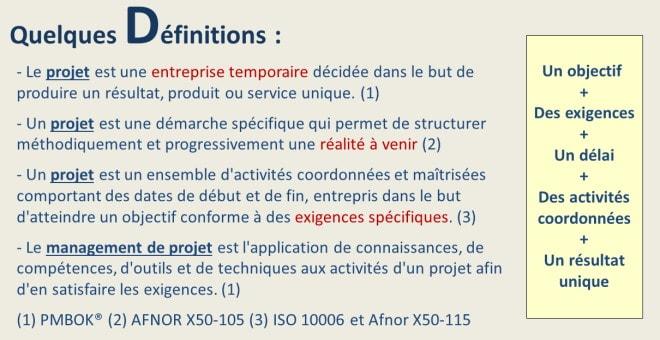 définitions du projet